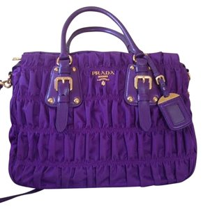 Prada Leather Nylon Tote in Purple