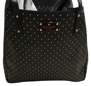 Kate Spade Tote in black with cream polka dots