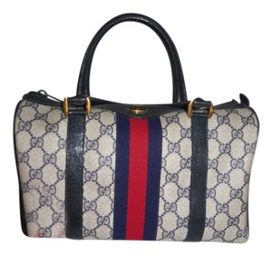 Gucci Vintage Leather 70's Iconic Satchel in blue/red