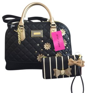 Betsey Johnson Satchel in Black, Gold