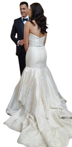 Alfred Angelo Champagne Satin and Lace Feminine Wedding Dress Size 6 (S)