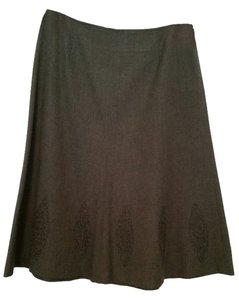 Liz Claiborne A-line Embroidered Hem Skirt Charcoal Grey