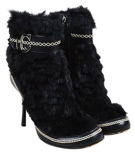 Dior Christian Rabbit Fur Leather Round Toe High Heel Black Boots