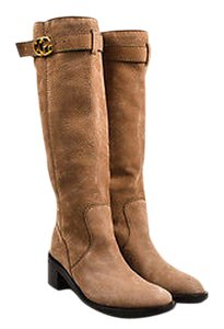 Gucci Camel Suede Knee High Gg Running Riding Brown Boots
