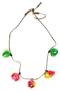 Marni Marni Pink Green Yellow Horn Floral Petal Wrap Brown Leather Cord Necklace
