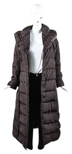Moncler Chocolate Nylon Drawstring Shawl Full Length 1 Coat
