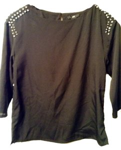 H&M 3/4 Sleeve Shirt Top Black