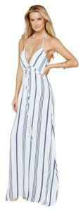 White and Blue Vertical Stipes Maxi Dress by Flynn Skye