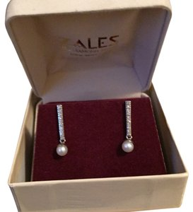 Zales Pearl Earrings w/ Diamond Accents