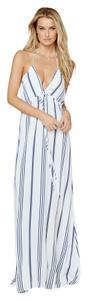 White & Blue Vertical Stipe Maxi Dress by Flynn Skye