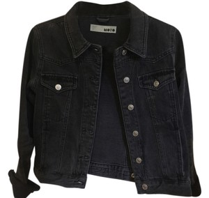 Topshop Washed Black Womens Jean Jacket