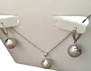 Zales 14K Solid White Gold In Diamond Cut Drop Earrings & Matching Necklace