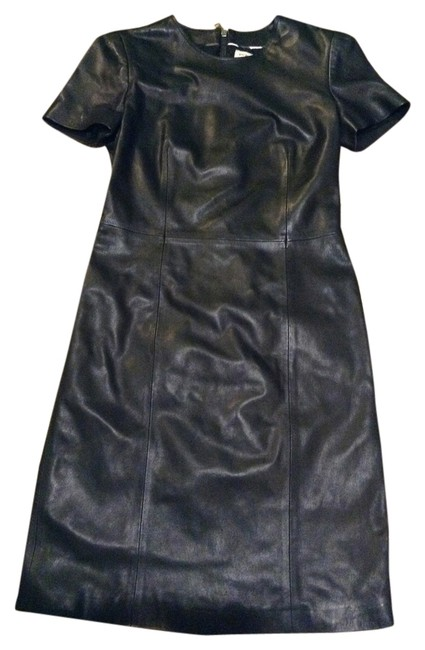 Item - Lambskin Leather Short Sleeve Above Knee Night Out Dress Size 6 (S)