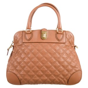 Marc Jacobs Dust Leather Luxury Satchel in Camel