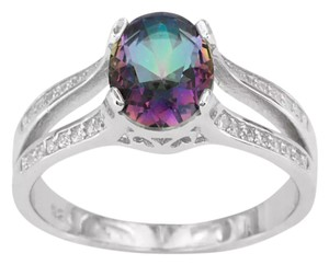 Other ** NWT ** 2 CTW. OVAL-CUT MYSTIC TOPAZ RING