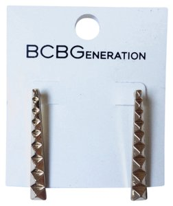BCBGeneration long gold pyramid stud earrings