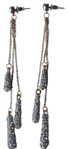 BCBGeneration water drop long chain rhinestone gold earrings