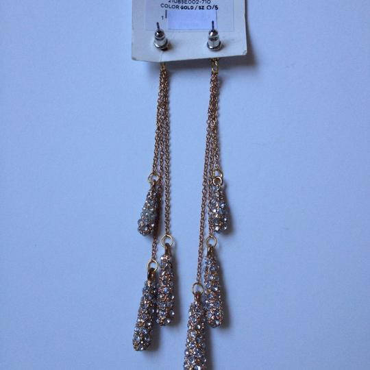 BCBGeneration water drop long chain rhinestone gold earrings Image 2