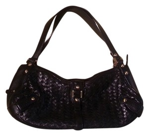 Cole Haan Leather Woven Shoulder Satchel in Black