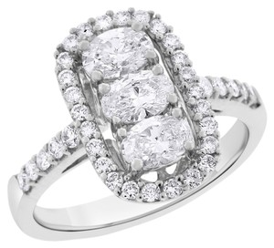 Other 1.50 Carat Natural Diamond Triple Oval Halo Fashion Ring In Solid 18k