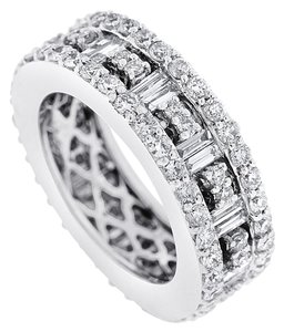 Other 2.90 Carat Natural Diamond Baguettes & Rounds Wide Eternity Band