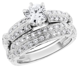 1.25 TCW Natural Diamond Engagement Ring Bridal Set In Solid 18k White