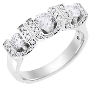 Other 1.25 Carat Natural Diamond Three Stone U Setting Ring In Solid 14k