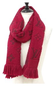 Louis Vuitton red ruby monogram woven wool silk long scarf