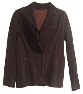 Andrew Marc Brown distressed Leather Jacket