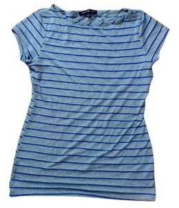 Green Envelope Royal Blue Stripes T Shirt Grey
