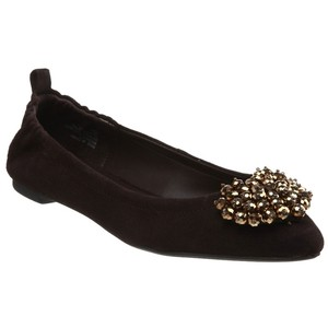 Kelsi Dagger Suede Ballet Beaded Pointed Toe Brown Flats