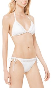 Michael Kors Beaded bikini bottom and top, Crocheted cotton Voile shorts