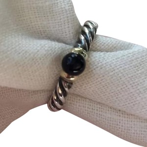 David Yurman Stackable Black Onyx Twisted Cable Ring