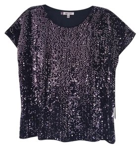 Jennifer Lopez Sequins Soft Evening Club Top Navy Water