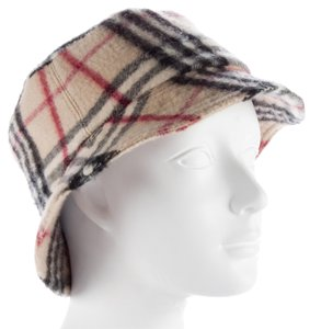 Burberry Tan, black Burberry Nova check cashmere bucket hat