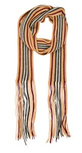 Burberry Black, beige, red Burberry striped fringe hem wool scarf