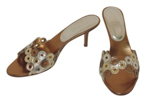 Coach bronze silver gold metallic leather Mules
