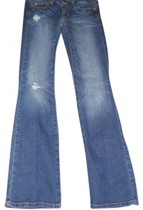 American Eagle Outfitters Petite Distressed Boot Cut Jeans-Distressed
