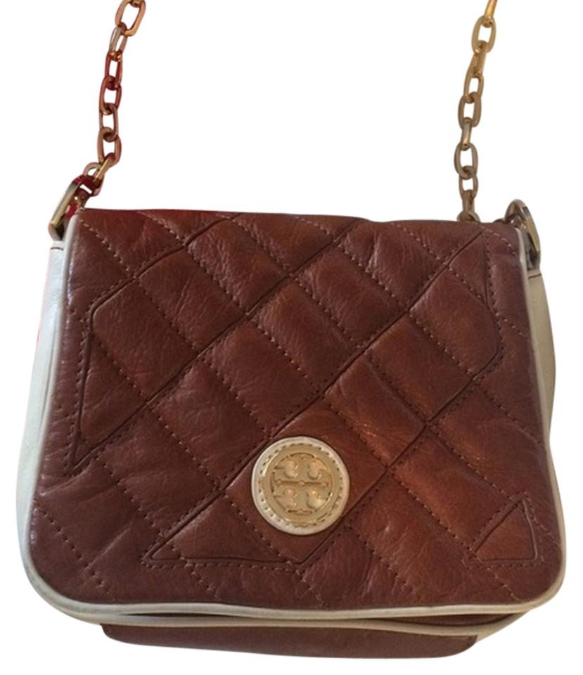 5fa8db7abce Tory Burch Like New Camel and White Leather Cross Body Bag - Tradesy
