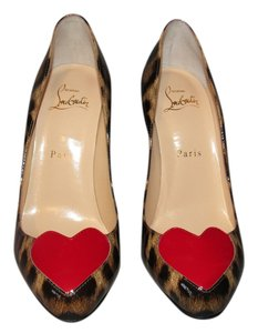 Christian Louboutin Patent Leather Red Sole Louboutin Red Heart Leopard Pumps