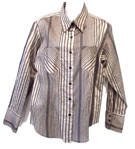 Chico's Striped Button Down Shirt Beige