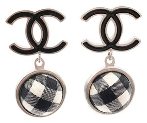 Chanel Chanel Black CC Gingham Cloth Dangle Piercing Earrings