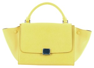 Céline Leather Satchel in Yellow
