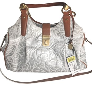 Brahmin Satchel in White + Silver Flowers
