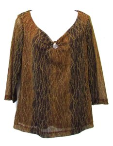 Chico's Off The Shoulder Top Brown Multi