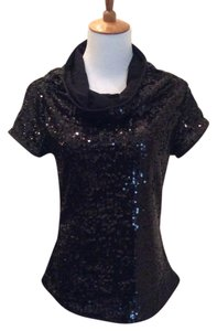 Yansi Fugel Sparkle Sequin Evening Comfortable Top Black