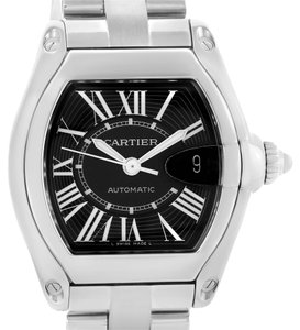 Cartier Cartier Roadster Black Roman Dial Mens Watch W62041V3 Box Strap