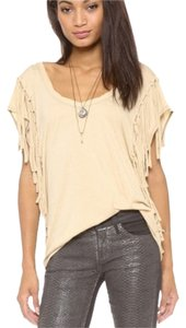 Free People Fringe Hem Cotton T Shirt beige