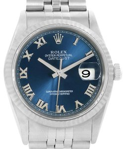 Rolex Rolex Datejust Steel 18K White Gold Blue Roman Dial Mens Watch 16234