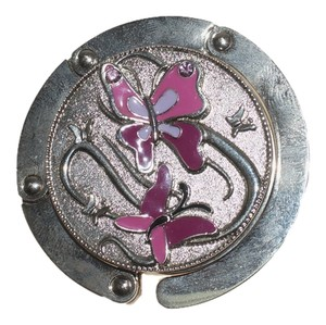 Bag Hook Pink Purple Butterfly Silver Plate Purse Bag Hook Table Hanger Folds up 2